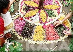 Mosaic Decoration On Onam Festival