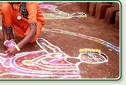 Rice powder paintings during the Pongal festival